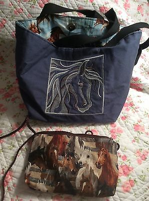 Horse Purse Bag Embroidered Blue Lot 2 Adjustable OOAK BagLady EC FREE SHIPPING