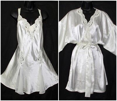 VICTORIAS SECRET Ivory Satin,Lace BRIDAL NIGHTGOWN & ROBE SET sz L Gown LARGE