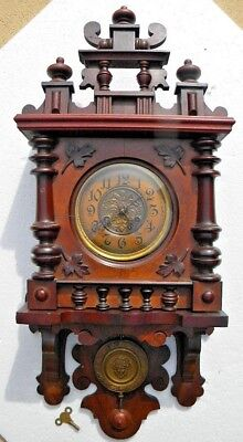 X ANTIQUE WALL REGULATOR CLOCK Vintage ORNATE GUSTAV BECKER Fancy Pendulum WORKS
