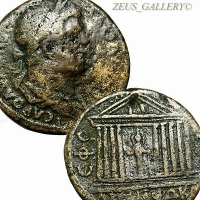 HADRIAN as OLYMPIAN GOD Gilt Gold Large Ancient Roman Coin Temple of DIANA