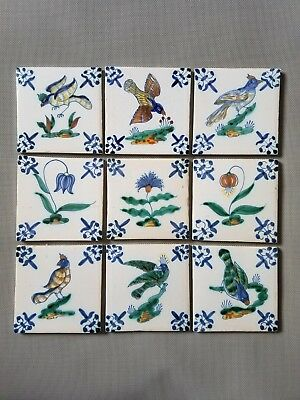 9x Antique polychrome Dutch Tile Birds of paradise and Flowers Rare