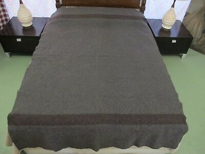 Civil War REPRODUCTION (?) Wool Blanket Dark Gray Brown Stripes GOOD CONDITION