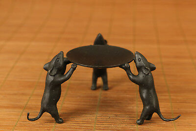 High Quality bronze old chinese carved mouse oil lamp / candle stick
