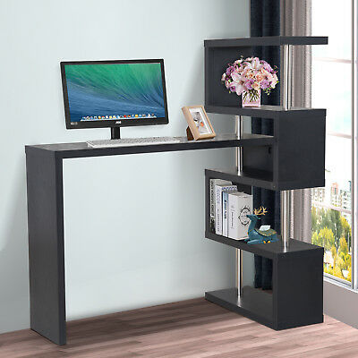 HOMCOM Bar Side Table Pivot Counter Wooden Shelving Bookcase