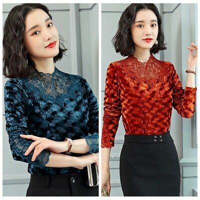 Fashion Womens Slim Long Sleeve Tops Blouse Hollow out Lace Casual Tops T-Shirts
