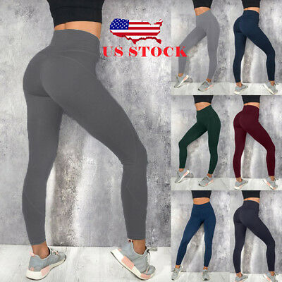 US Womens YOGA Gym Sports Pants Hip Push Up Leggings Fitness Workout Stretch New