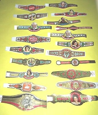 Fabulous 320 Early Vintage EMBOSSED LOT TOBACCO PAPER CIGAR BANDS all Different