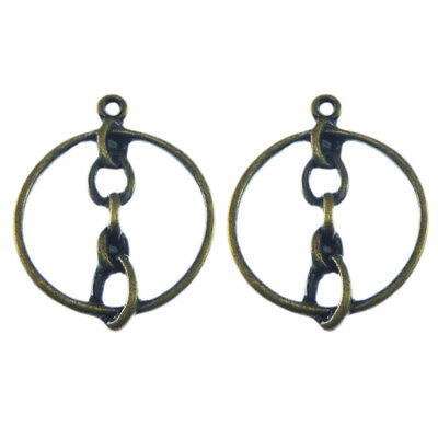 30pcs Vintage Bronze Simple Design Round Ring Alloy Charms Pendants Crafts 07131