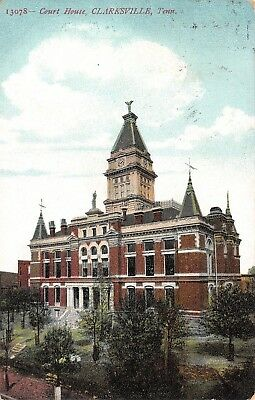Clarksville Tennessee~Montgomery County Court House~Clock Tower~1911 Postcard
