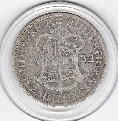 1932   South  Africa  2  Shillings  Silver  Coin