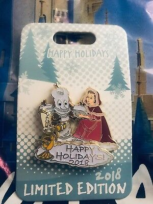 Disney's Happy Holidays 2018 Belle & Lumiere Beauty and The Beast LE Pin