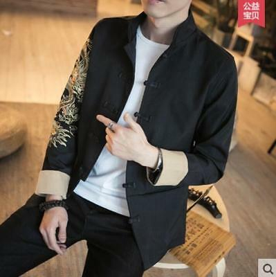 30d07198b3b New Summer Chic Men s Embroidery Chinese Style Retro Stand Collar Coat  Jacket YH