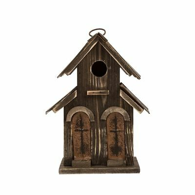 """Glitzhome 10.04""""H Distressed Solid Wood Birdhouse w/Two-door"""