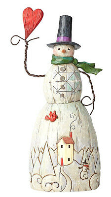 Jim Shore~Folklore Snowman W Heart~Tall Figurine~Christmas~Cardinal~Nib~4058768