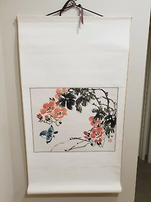 Asian Oriental Chinese Scroll Painting Flowers & Bird, great xmas gift