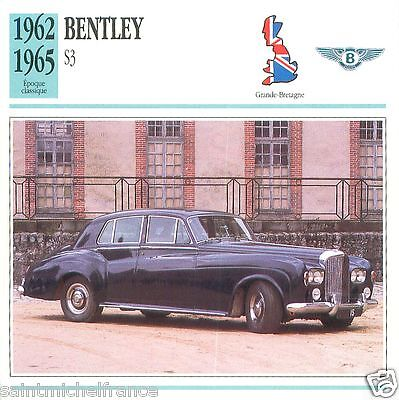 BENTLEY S3 1962 1965 CAR VOITURE Great Britain GRANDE BRETAGNE CARTE CARD FICHE