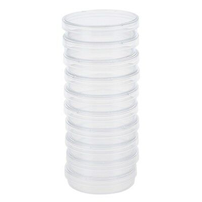 4X(10 pcs 60mm x 15mm polystyrene sterilized Petri dishes with lids Clear H5J5)