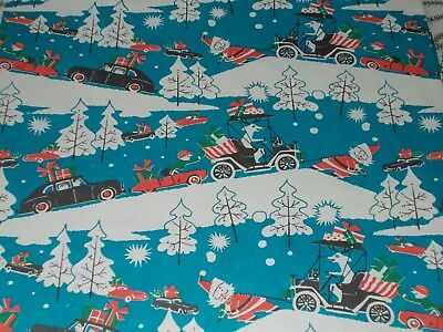 Vtg Christmas Wrapping Paper Gift Wrap Santa Reindeer Cars Snow 1950 Nos Mcm