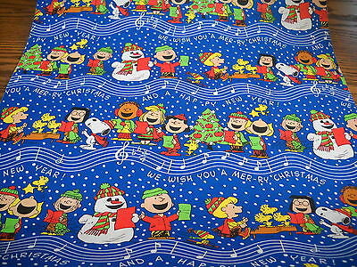 Vtg Christmas Old Store 1960 Peanuts Snoopy Wrapping Paper Gift Wrap 2 Yards
