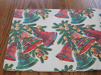 Vtg Christmas Wrapping Paper Gift Wrap Merry Ringing Bells Gorgeous