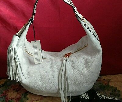 REBECCA MINKOFF WHITE Bailey LEATHER Shoulder Hand Bag Hobo Stud Turquoise NWT