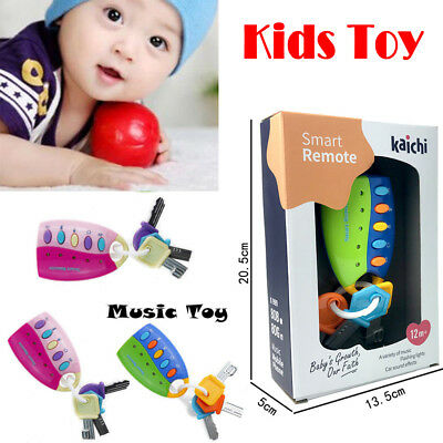 Baby Car Key kids Musical Keys Baby's Sound and Light Pretend Toy Keychain Gifts
