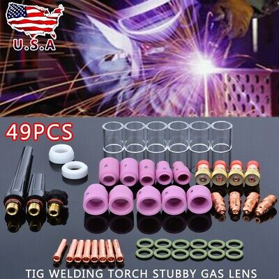 USA Stock 49pc TIG Welding Torch Stubby Saver Gas Lens Pyrex Cup Fit WP-17/18/26