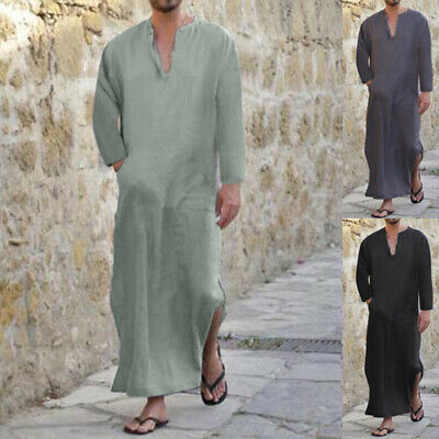 Men Full Length Cotton Kaftan Lounge Wear Home Robed Loungewear Sleepwear Shirts