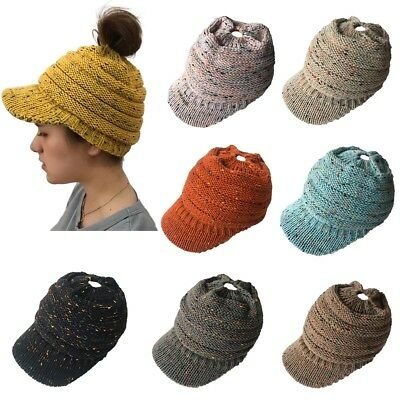 Women's Elastic Knit Hat Messy Bun Ponytail Beanie Winter Warm Hole Peaked Cap