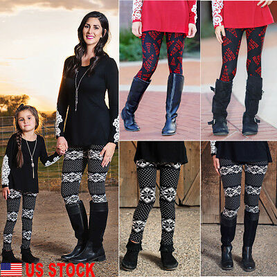 US Cute Family Matching Christmas Leggings Mother and Daughter Cotton Long Pants
