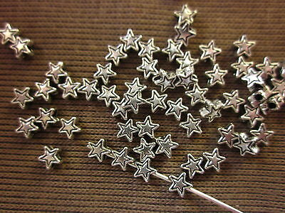 100 Antique Silver Coloured Star Spacers 4mm Off-Centre Threading #sp1831 Craft