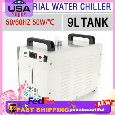 CW-3000 9L Industrial Thermolysis Water Chiller for 60W/80W Co2 Glass Laser Tube