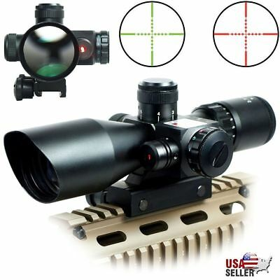 2.5-10x40 Illuminated Tactical Rifle Scope with Red Laser&Holographic Dot Sight