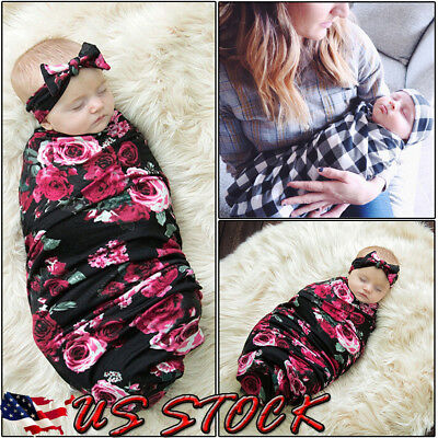 US Newborn Baby Infant Swaddle Blanket Sleeping Swaddle Muslin Wrap+Headband