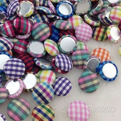50/100 pcs 15mm scot style gingham fabric covered button flat back CT20