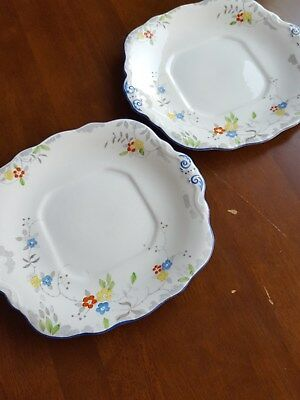 Sutherland China Pair of Square Twin Handled Cake Plates.