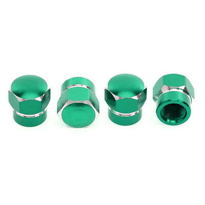 4pcs Universal Aluminum Car Tyre Tire Wheel Stem Valve Air Dust Caps Cover Green