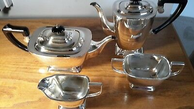 Apex Silver Plate 4 Piece Tea Set