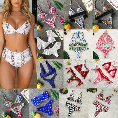 Women Push Up Beach Swimwear Triangle Padded Bra Bikini Set Bathing Swimsuit Lot