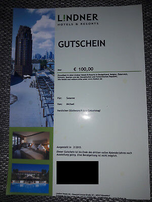 Lindner Hotels & Resorts Wertgutschein 100EUR
