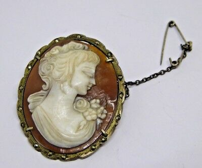 Vintage 800 Grade Silver Marcasite and Carved Shell Cameo Brooch / Pendant