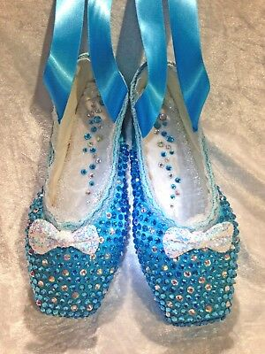 Decorated pointe ballet shoes