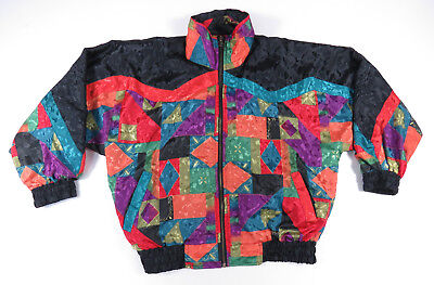Vintage Multicolor Reversible Geometric Abstract All Over Print Bomber Jacket M