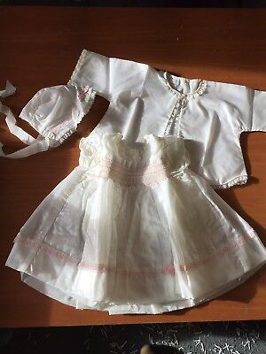 Girls Christening outfit, Bonnet, Coat and Dress