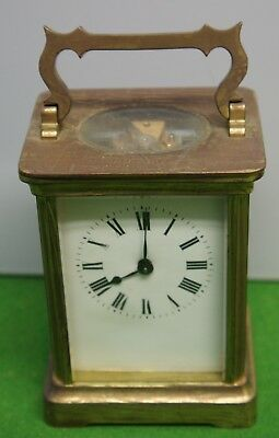 Early 20Th Century French Brass Carriage Clock - Engraved Lion On Backplate