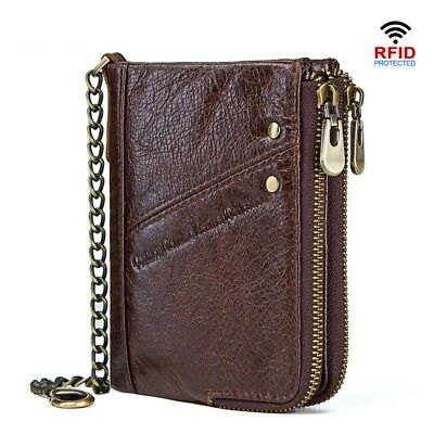 Men's RFID Short Wallet Genuine Leather Small Coin Purse Male Credit Card Holder