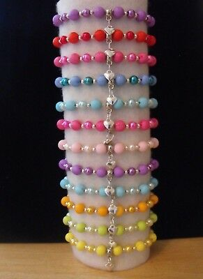 Wholesale Jewellery Childrens Job Lot 12 Beaded Charm Bracelets, Gift,party Bags