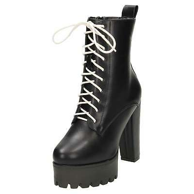 Black High Heel Platform White Laced Up Ankle Boots Chunky Gothic Combat Zip