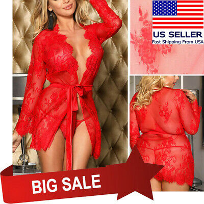 Red Sheer Floral Lace Sleeved Robe & Panty Set Boudoir Nightgown Lingerie M-5XL