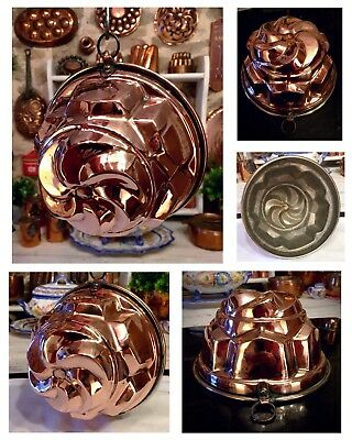 "Lovely! 7"" Italian~French Copper Mold Jelly Cake Pan Pastry Bread Pudding Bake"